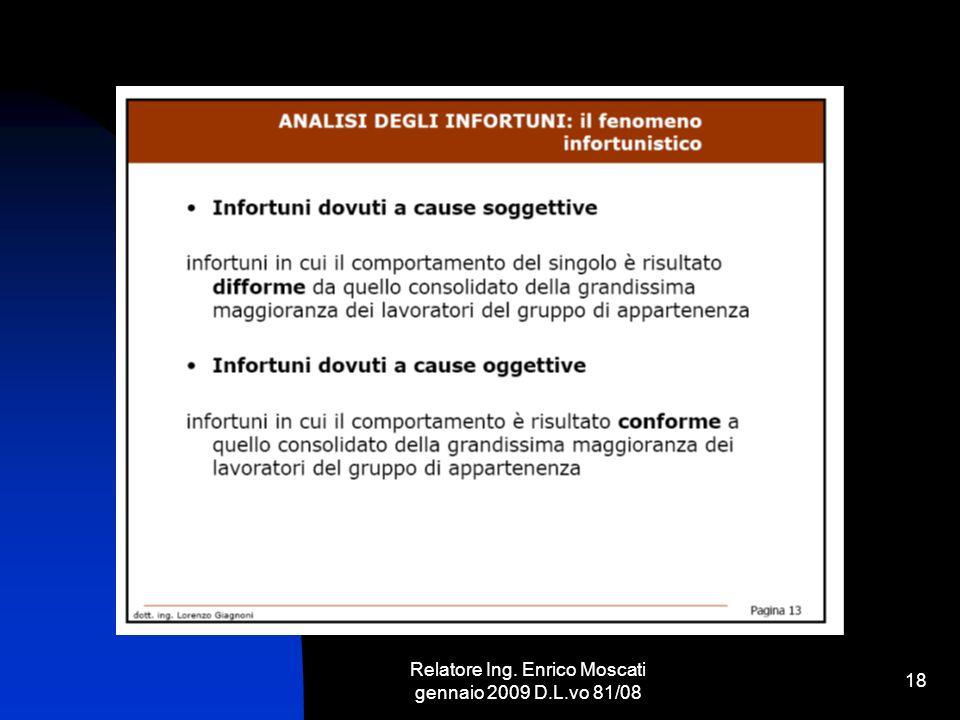 Relatore Ing. Enrico Moscati gennaio 2009 D.L.vo 81/08 18