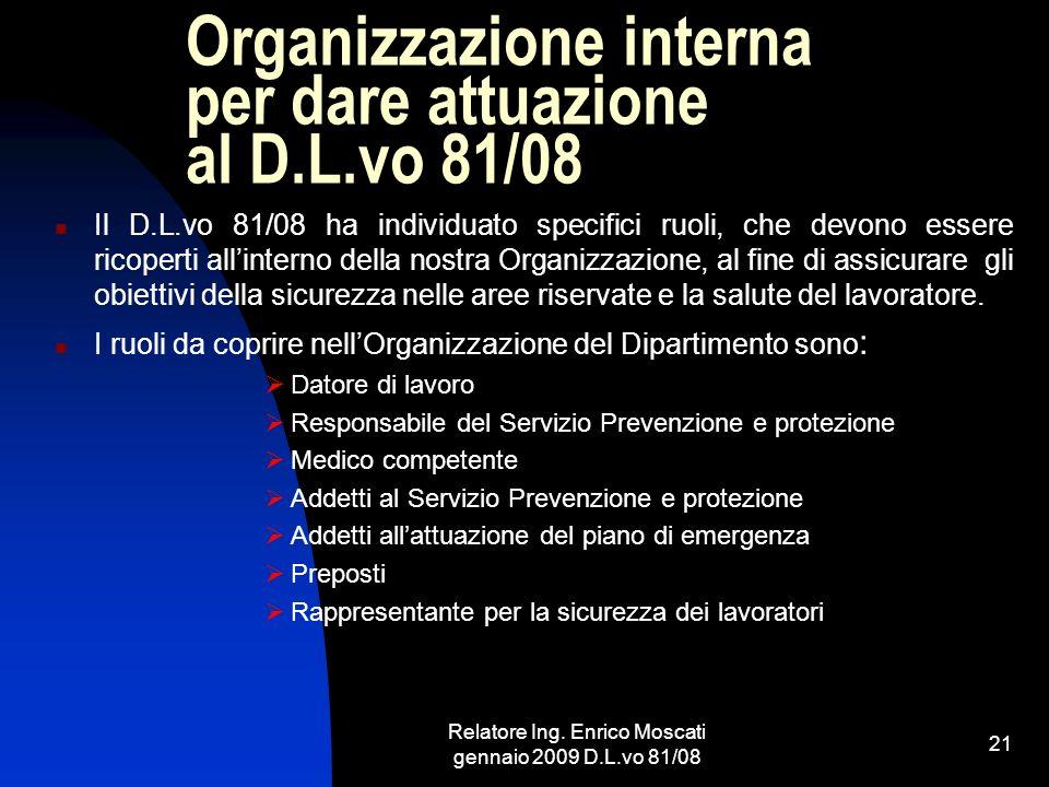 Relatore Ing. Enrico Moscati gennaio 2009 D.L.vo 81/08 21 Organizzazione interna per dare attuazione al D.L.vo 81/08 Il D.L.vo 81/08 ha individuato sp
