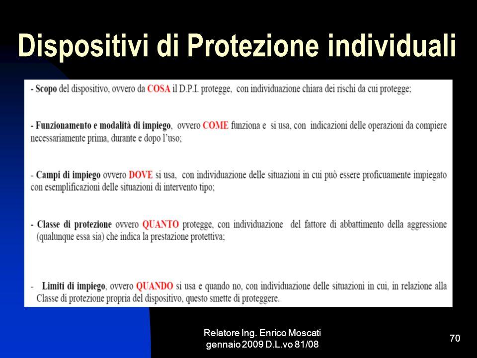 Relatore Ing. Enrico Moscati gennaio 2009 D.L.vo 81/08 70 Dispositivi di Protezione individuali