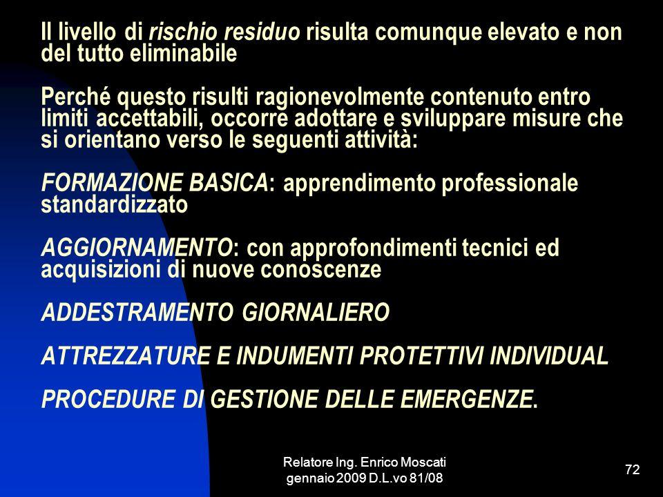 Relatore Ing. Enrico Moscati gennaio 2009 D.L.vo 81/08 72 Il livello di rischio residuo risulta comunque elevato e non del tutto eliminabile Perché qu