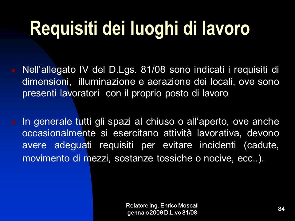 Relatore Ing. Enrico Moscati gennaio 2009 D.L.vo 81/08 84 Requisiti dei luoghi di lavoro Nellallegato IV del D.Lgs. 81/08 sono indicati i requisiti di