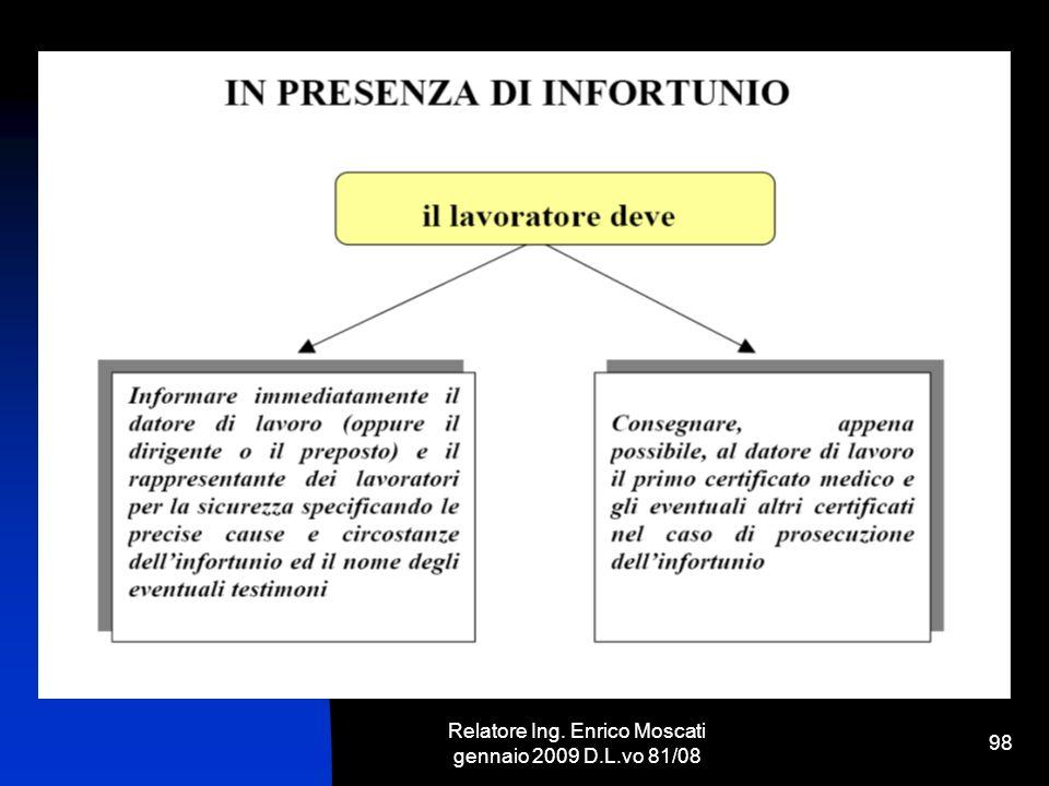 Relatore Ing. Enrico Moscati gennaio 2009 D.L.vo 81/08 98