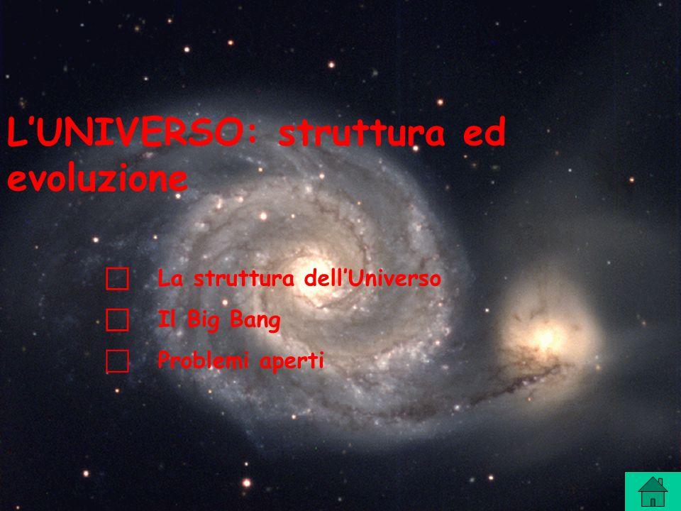 LUNIVERSO: struttura ed evoluzione La struttura dellUniverso Il Big Bang Problemi aperti