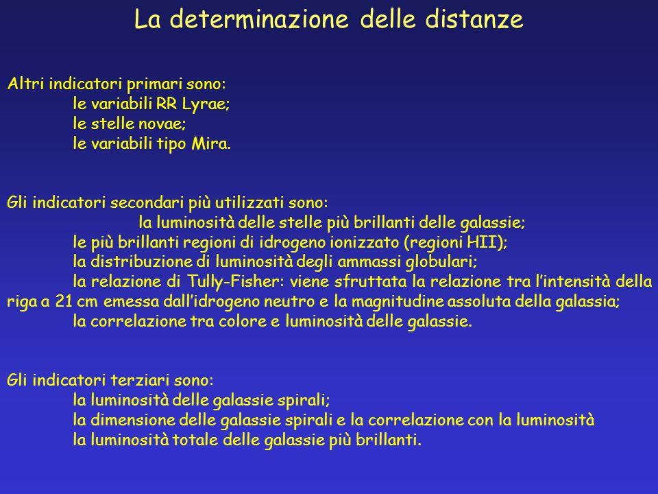 La determinazione delle distanze Altri indicatori primari sono: le variabili RR Lyrae; le stelle novae; le variabili tipo Mira. Gli indicatori seconda