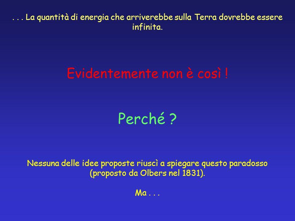 ... La quantità di energia che arriverebbe sulla Terra dovrebbe essere infinita. Evidentemente non è così ! Perché ? Nessuna delle idee proposte riusc