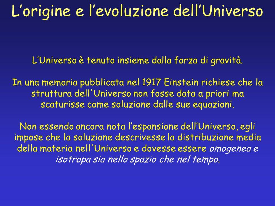 LUniverso è tenuto insieme dalla forza di gravità. In una memoria pubblicata nel 1917 Einstein richiese che la struttura dell'Universo non fosse data
