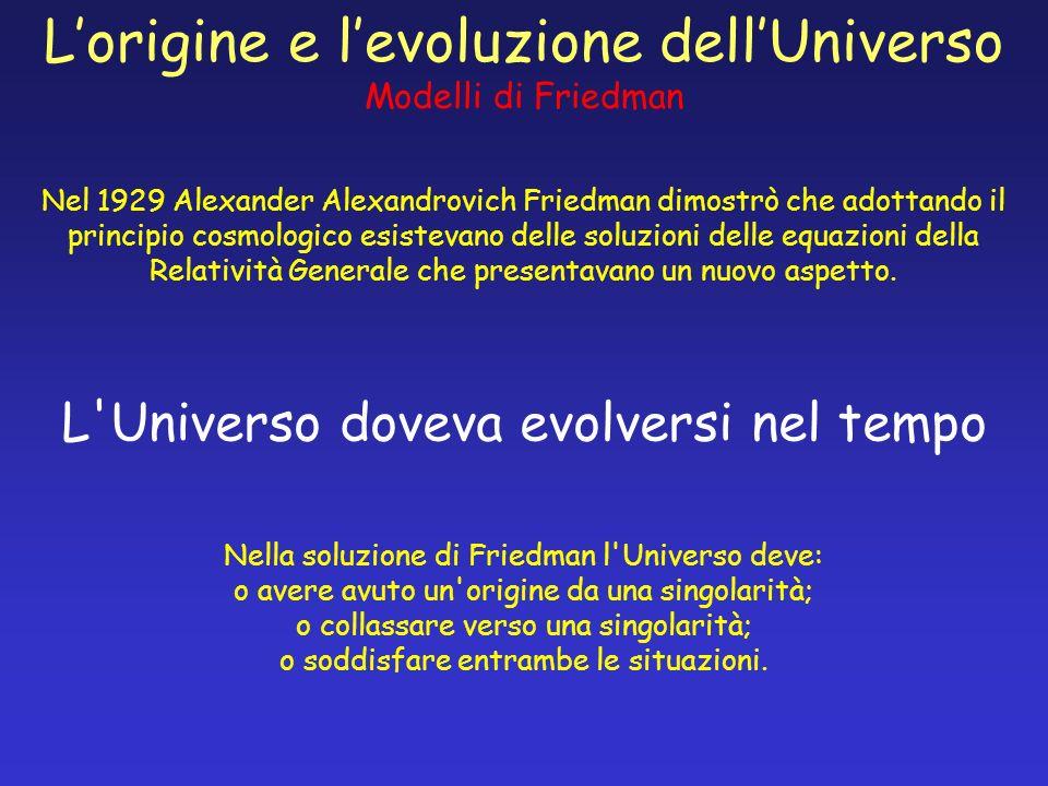 Lorigine e levoluzione dellUniverso Modelli di Friedman Nel 1929 Alexander Alexandrovich Friedman dimostrò che adottando il principio cosmologico esis