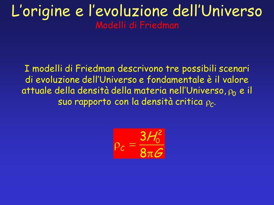 I modelli di Friedman descrivono tre possibili scenari di evoluzione dellUniverso e fondamentale è il valore attuale della densità della materia nellU