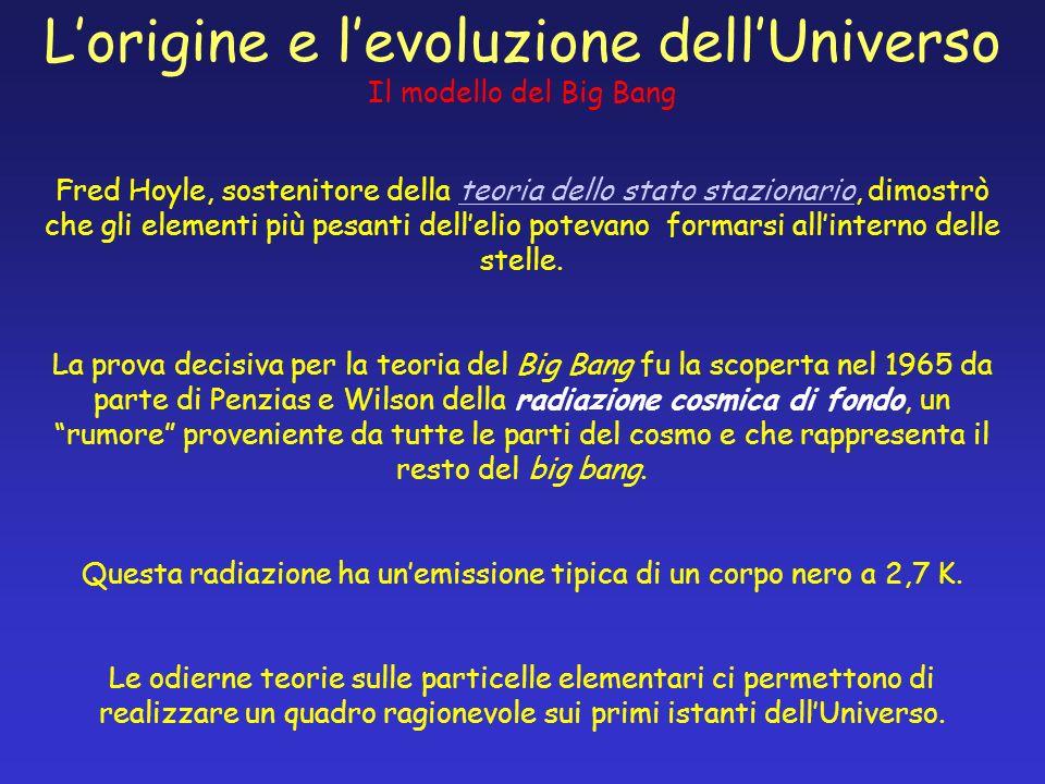 Lorigine e levoluzione dellUniverso Il modello del Big Bang Fred Hoyle, sostenitore della teoria dello stato stazionario, dimostrò che gli elementi pi