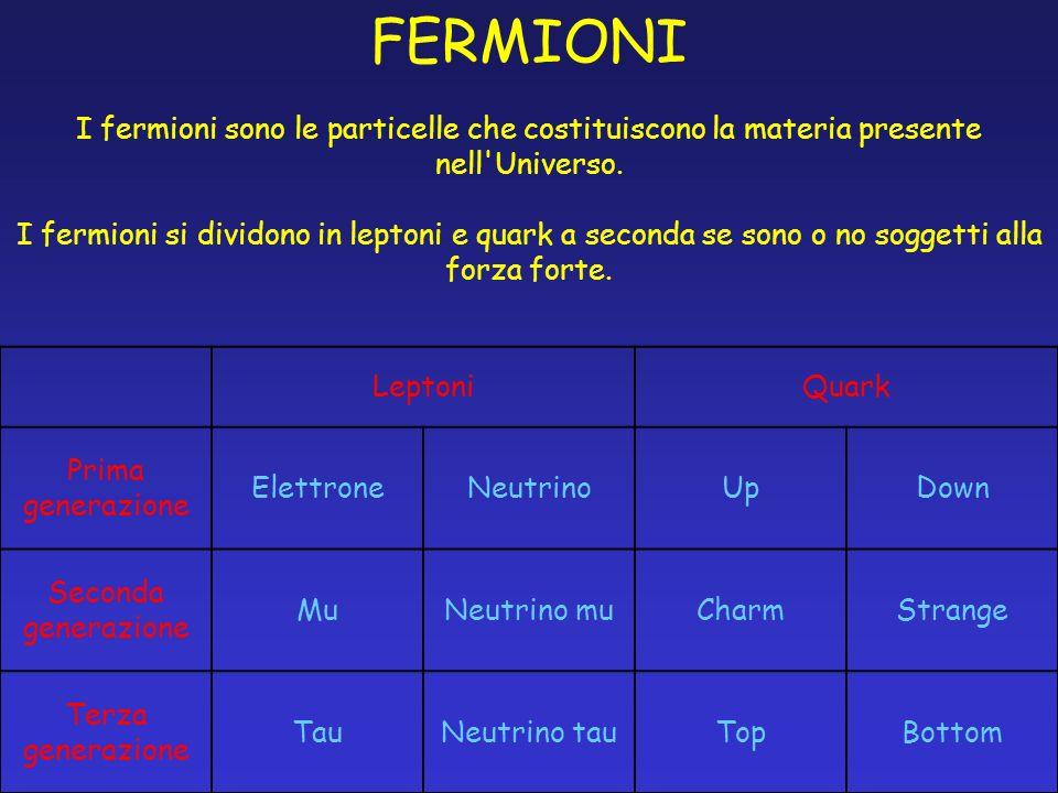 FERMIONI I fermioni sono le particelle che costituiscono la materia presente nell'Universo. I fermioni si dividono in leptoni e quark a seconda se son