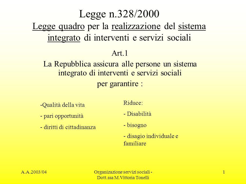 A.A.2003/04Organizazione servizi sociali - Dott.ssa M.Vittoria Tonelli 2 Soggetti attivi Gli Enti Locali, le regioni e lo Stato riconoscono e agevolano il ruolo di: Onlus, cooperazione, volontariato, associazioni, fondazioni, enti di patronato… Nella programmazione, nellorganizzazione e nella gestione del sistema integrato.