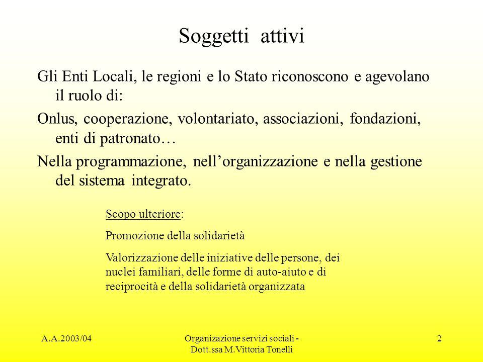 A.A.2003/04Organizazione servizi sociali - Dott.ssa M.Vittoria Tonelli 2 Soggetti attivi Gli Enti Locali, le regioni e lo Stato riconoscono e agevolan