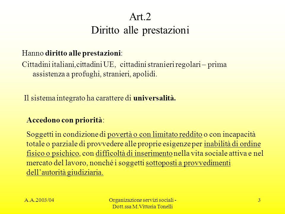 A.A.2003/04Organizazione servizi sociali - Dott.ssa M.Vittoria Tonelli 3 Art.2 Diritto alle prestazioni Hanno diritto alle prestazioni: Cittadini ital