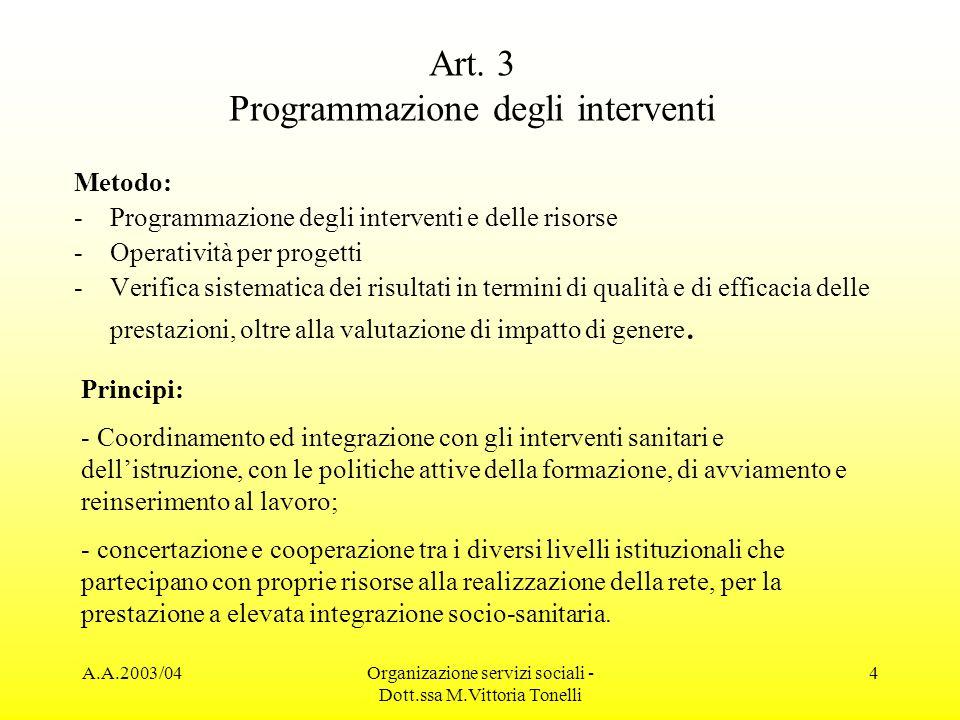 A.A.2003/04Organizazione servizi sociali - Dott.ssa M.Vittoria Tonelli 4 Art. 3 Programmazione degli interventi Metodo: -Programmazione degli interven