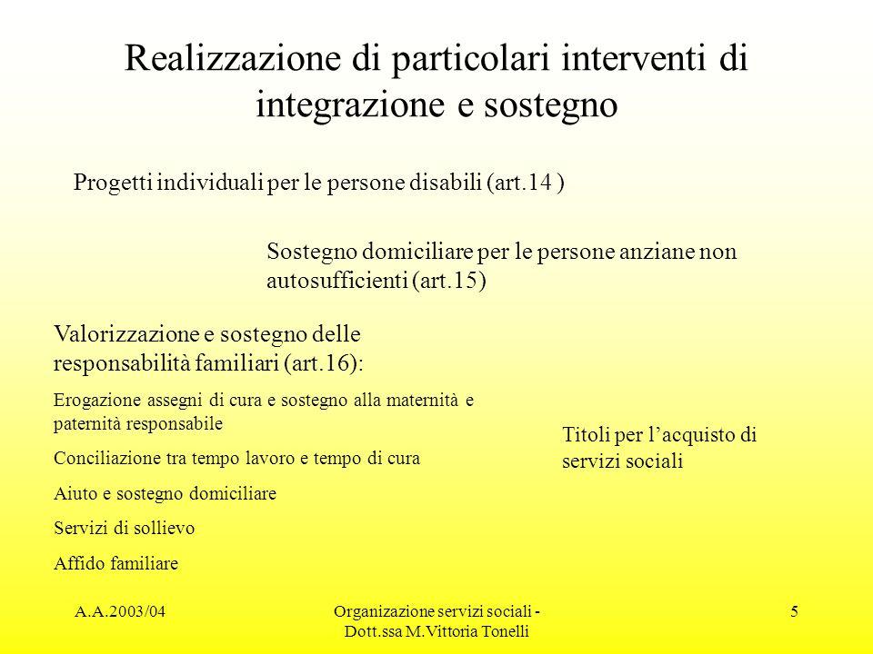 A.A.2003/04Organizazione servizi sociali - Dott.ssa M.Vittoria Tonelli 5 Realizzazione di particolari interventi di integrazione e sostegno Progetti i