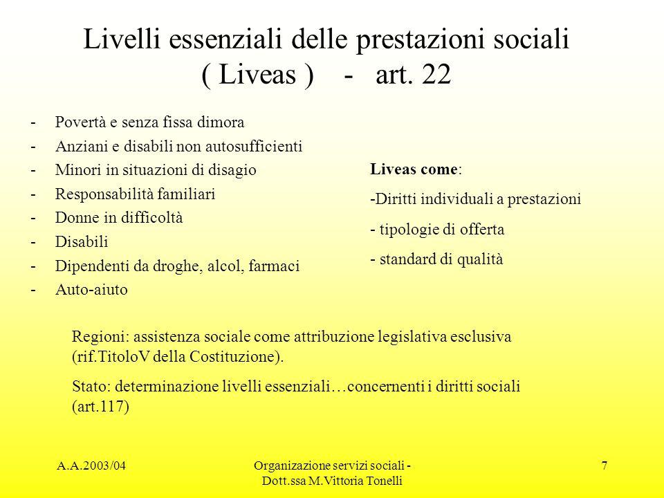 A.A.2003/04Organizazione servizi sociali - Dott.ssa M.Vittoria Tonelli 7 Livelli essenziali delle prestazioni sociali ( Liveas ) - art. 22 -Povertà e