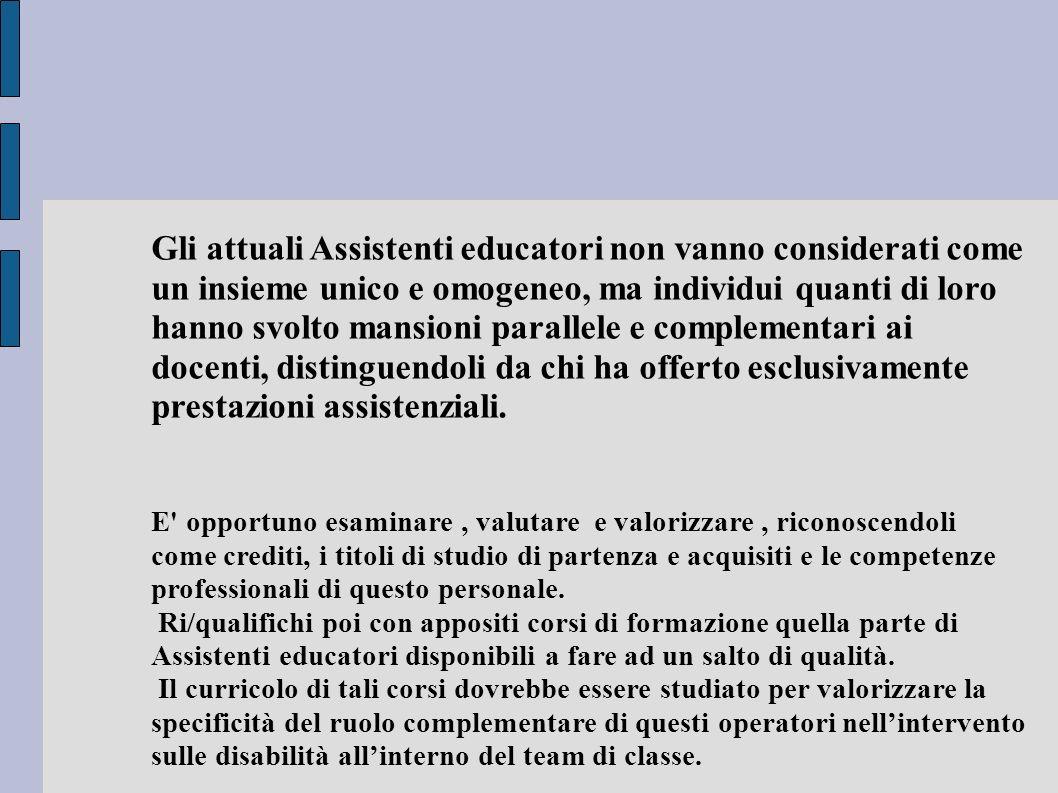 Gli attuali Assistenti educatori non vanno considerati come un insieme unico e omogeneo, ma individui quanti di loro hanno svolto mansioni parallele e