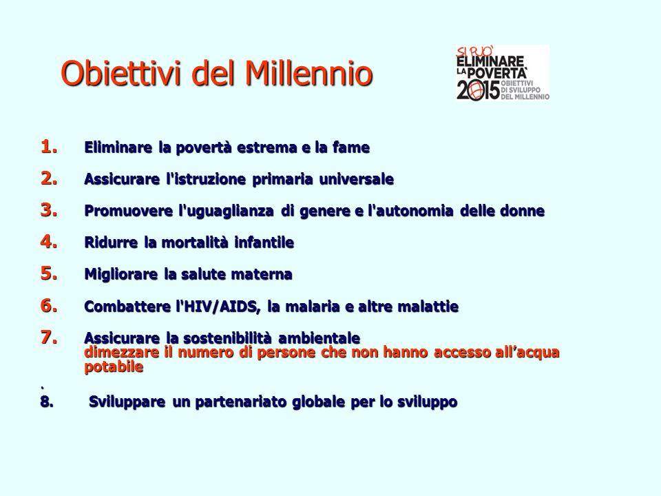 Obiettivi del Millennio Obiettivi del Millennio 1. Eliminare la povertà estrema e la fame 1. Eliminare la povertà estrema e la fame 2. Assicurare l'is