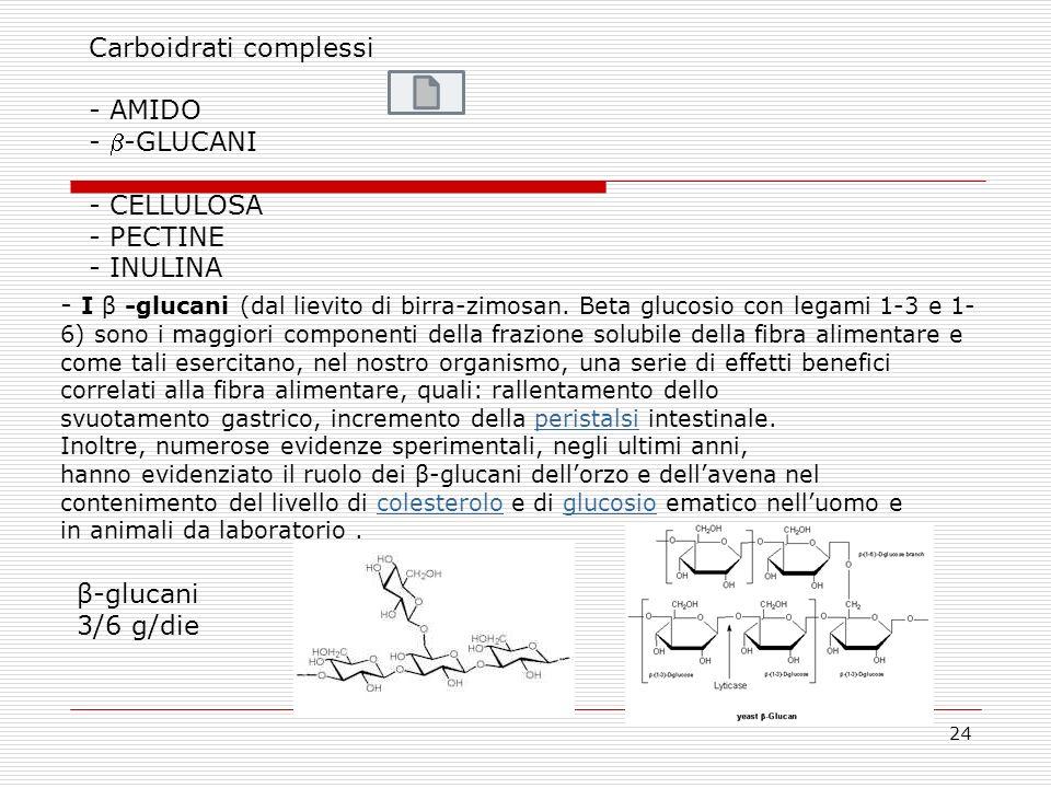 24 Carboidrati complessi - AMIDO - -GLUCANI - CELLULOSA - PECTINE - INULINA β-glucani 3/6 g/die - I β -glucani (dal lievito di birra-zimosan. Beta glu