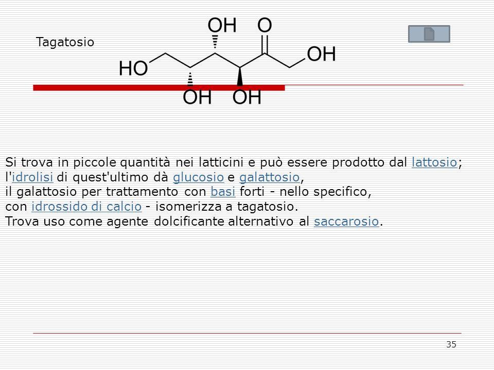 35 Tagatosio Si trova in piccole quantità nei latticini e può essere prodotto dal lattosio;lattosio l'idrolisi di quest'ultimo dà glucosio e galattosi