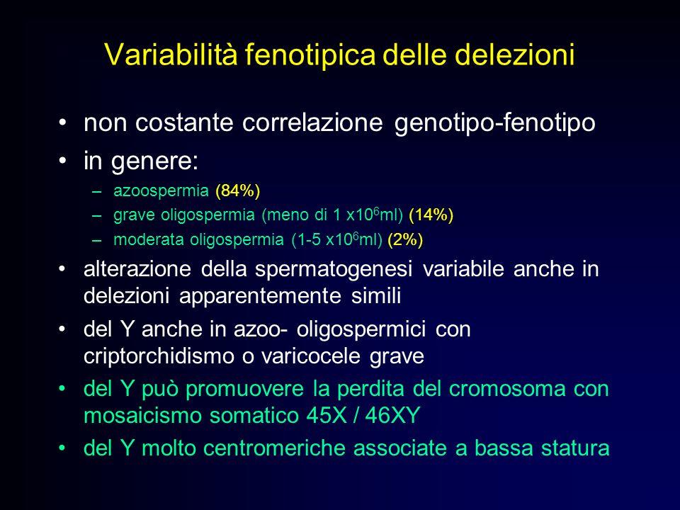 Variabilità fenotipica delle delezioni non costante correlazione genotipo-fenotipo in genere: –azoospermia (84%) –grave oligospermia (meno di 1 x10 6