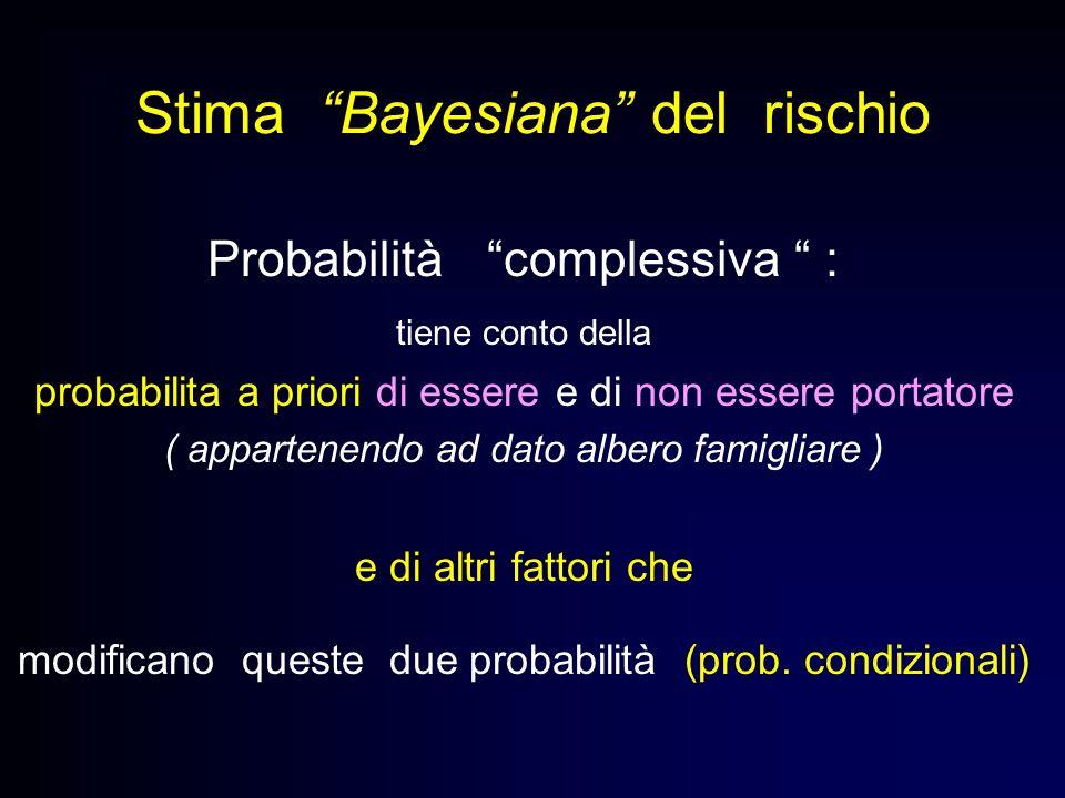 Stima Bayesiana del rischio Probabilità complessiva : tiene conto della probabilita a priori di essere e di non essere portatore ( appartenendo ad dat