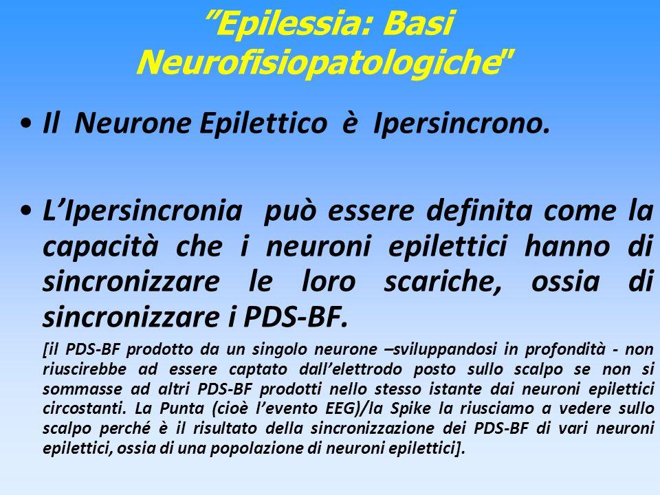 Epilessia: Basi Neurofisiopatologiche Il Neurone Epilettico è Ipersincrono. LIpersincronia può essere definita come la capacità che i neuroni epiletti