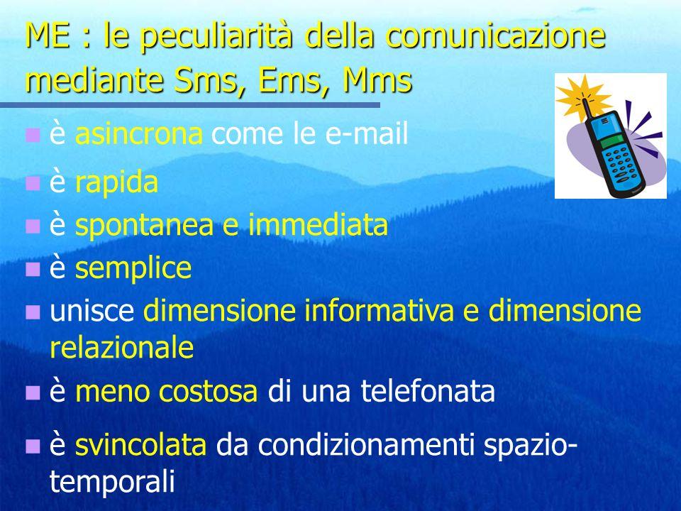 ME : le peculiarità della comunicazione mediante Sms, Ems, Mms è asincrona come le e-mail è rapida è spontanea e immediata è semplice unisce dimensione informativa e dimensione relazionale è meno costosa di una telefonata è svincolata da condizionamenti spazio- temporali