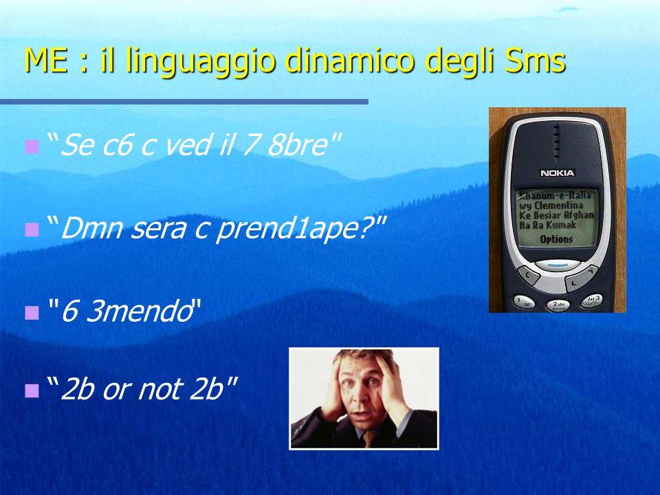 ME : il linguaggio dinamico degli Sms Se c6 c ved il 7 8bre Dmn sera c prend1ape? 6 3mendo 2b or not 2b