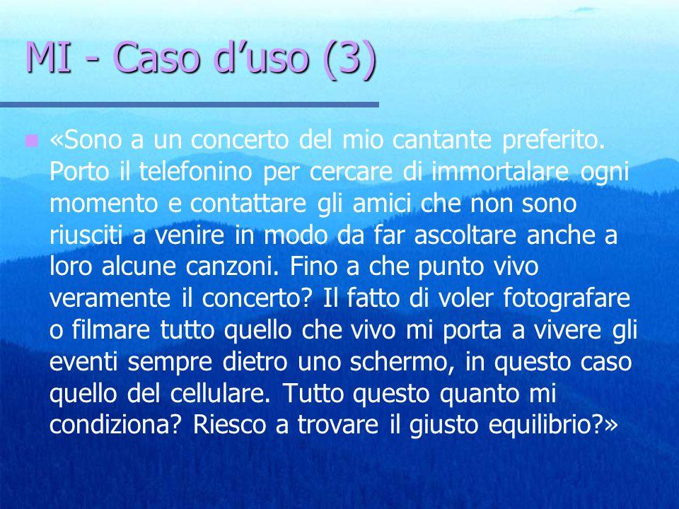 MI - Caso duso (3) «Sono a un concerto del mio cantante preferito. Porto il telefonino per cercare di immortalare ogni momento e contattare gli amici