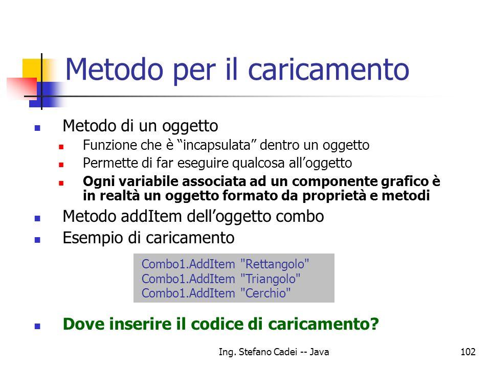 Ing. Stefano Cadei -- Java102 Metodo per il caricamento Metodo di un oggetto Funzione che è incapsulata dentro un oggetto Permette di far eseguire qua