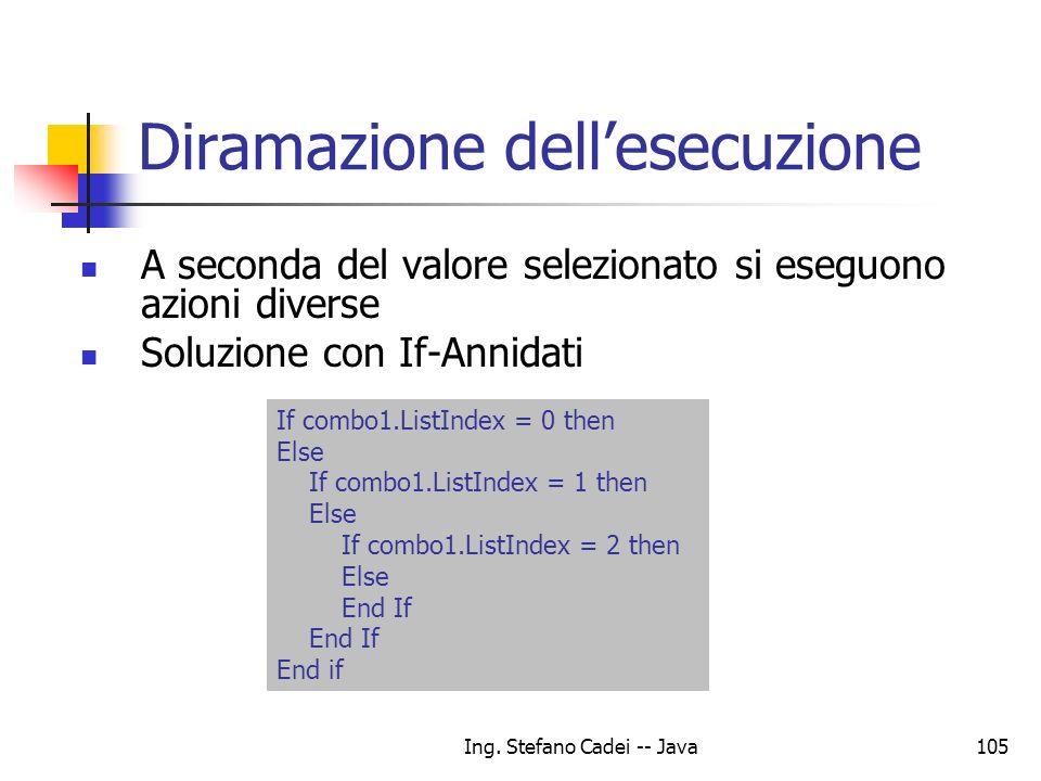 Ing. Stefano Cadei -- Java105 Diramazione dellesecuzione A seconda del valore selezionato si eseguono azioni diverse Soluzione con If-Annidati If comb