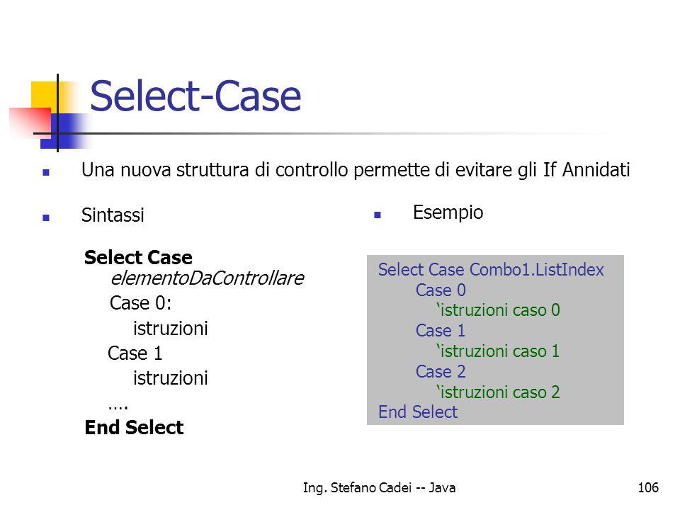 Ing. Stefano Cadei -- Java106 Select-Case Una nuova struttura di controllo permette di evitare gli If Annidati Sintassi Select Case Combo1.ListIndex C