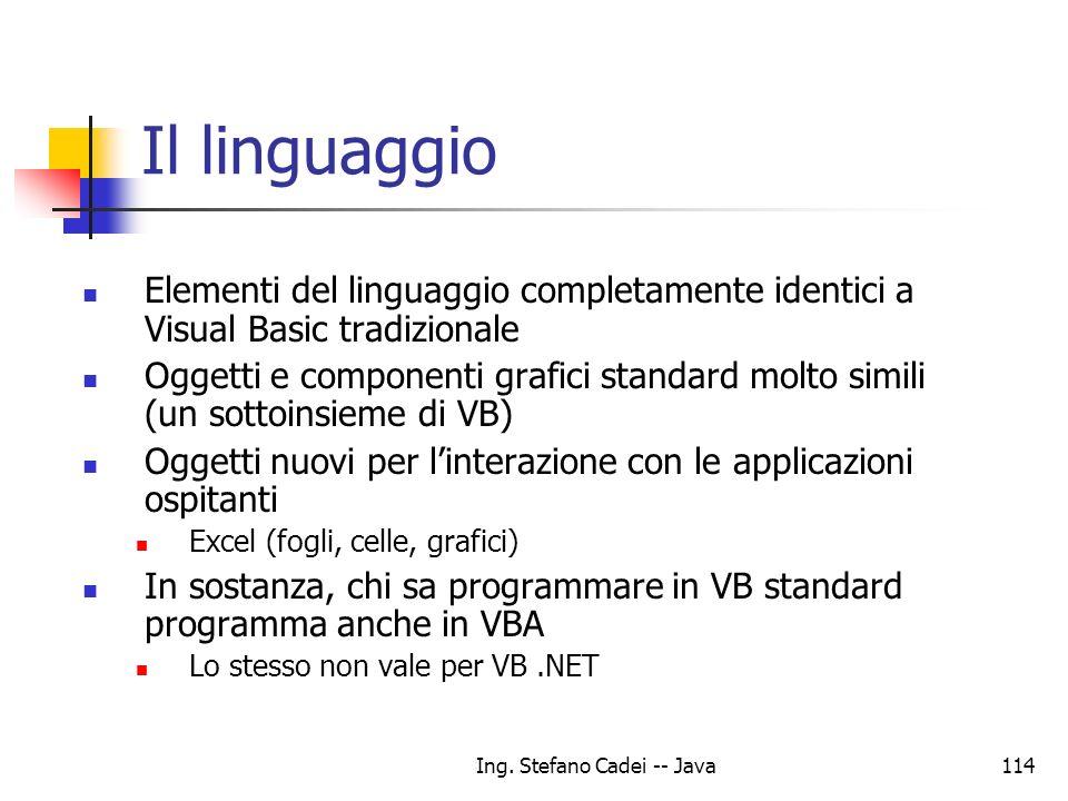Ing. Stefano Cadei -- Java114 Il linguaggio Elementi del linguaggio completamente identici a Visual Basic tradizionale Oggetti e componenti grafici st