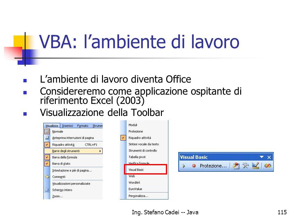 Ing. Stefano Cadei -- Java115 VBA: lambiente di lavoro Lambiente di lavoro diventa Office Considereremo come applicazione ospitante di riferimento Exc