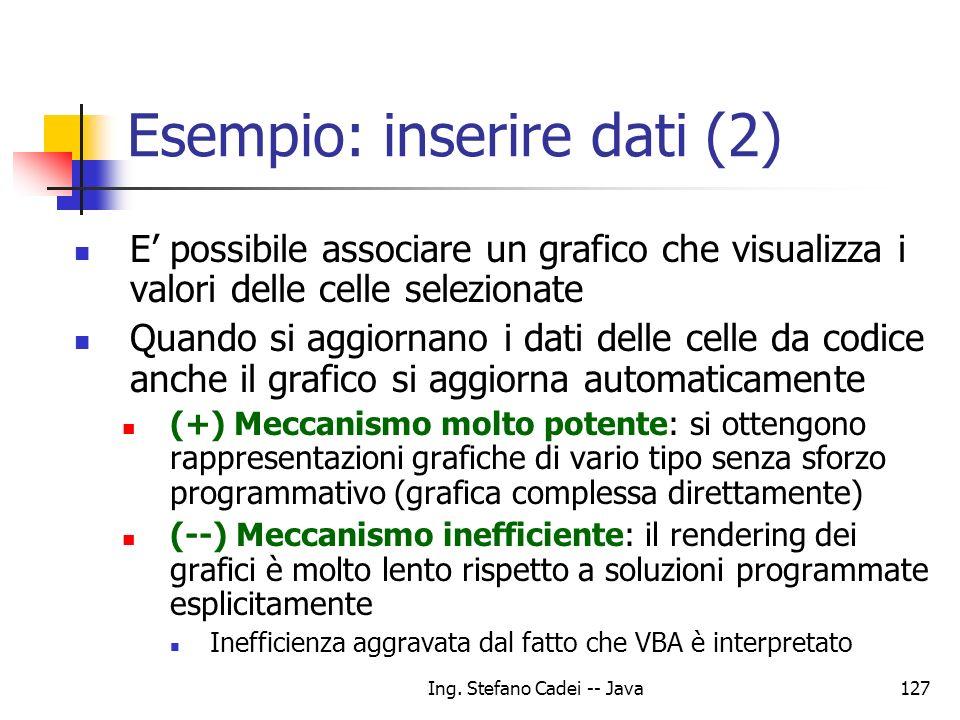 Ing. Stefano Cadei -- Java127 E possibile associare un grafico che visualizza i valori delle celle selezionate Quando si aggiornano i dati delle celle