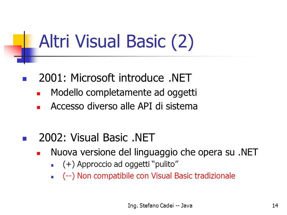 Ing. Stefano Cadei -- Java14 Altri Visual Basic (2) 2001: Microsoft introduce.NET Modello completamente ad oggetti Accesso diverso alle API di sistema