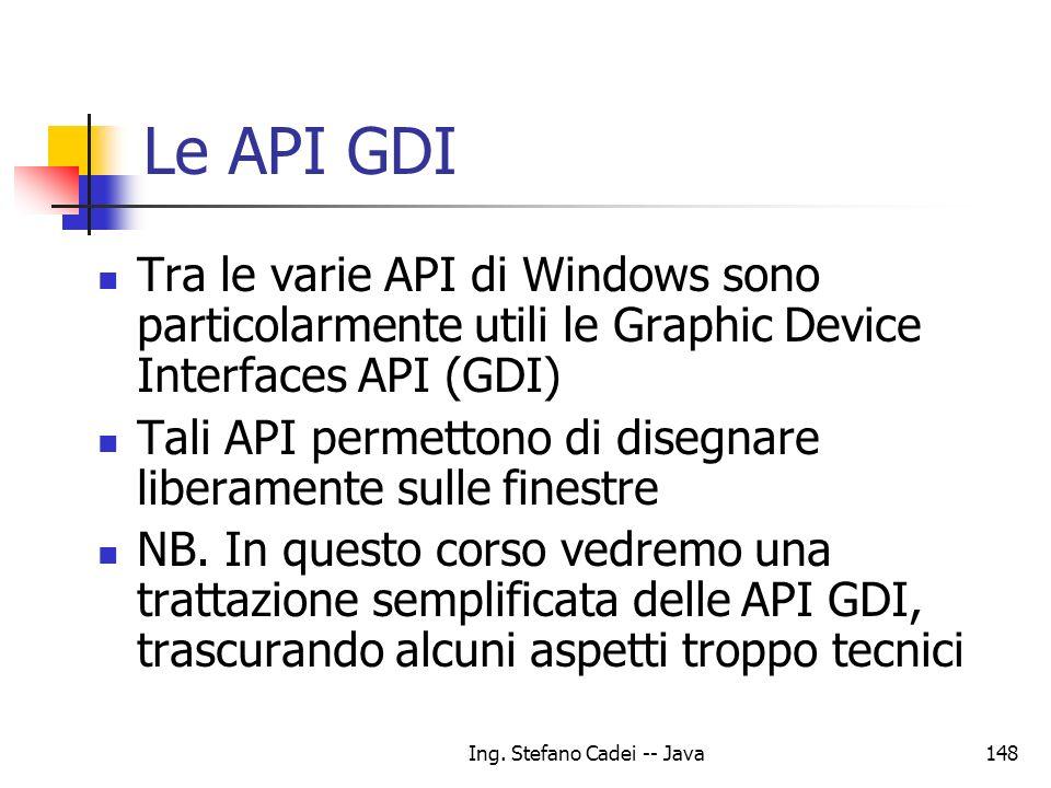 Ing. Stefano Cadei -- Java148 Le API GDI Tra le varie API di Windows sono particolarmente utili le Graphic Device Interfaces API (GDI) Tali API permet