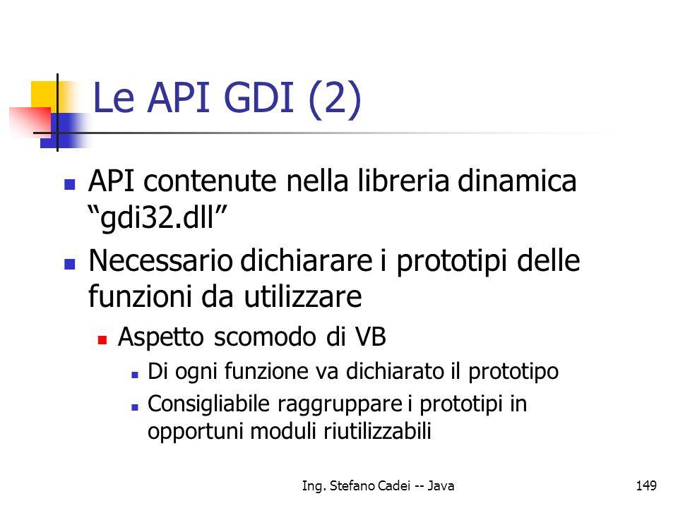 Ing. Stefano Cadei -- Java149 Le API GDI (2) API contenute nella libreria dinamica gdi32.dll Necessario dichiarare i prototipi delle funzioni da utili