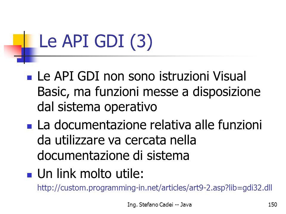Ing. Stefano Cadei -- Java150 Le API GDI (3) Le API GDI non sono istruzioni Visual Basic, ma funzioni messe a disposizione dal sistema operativo La do