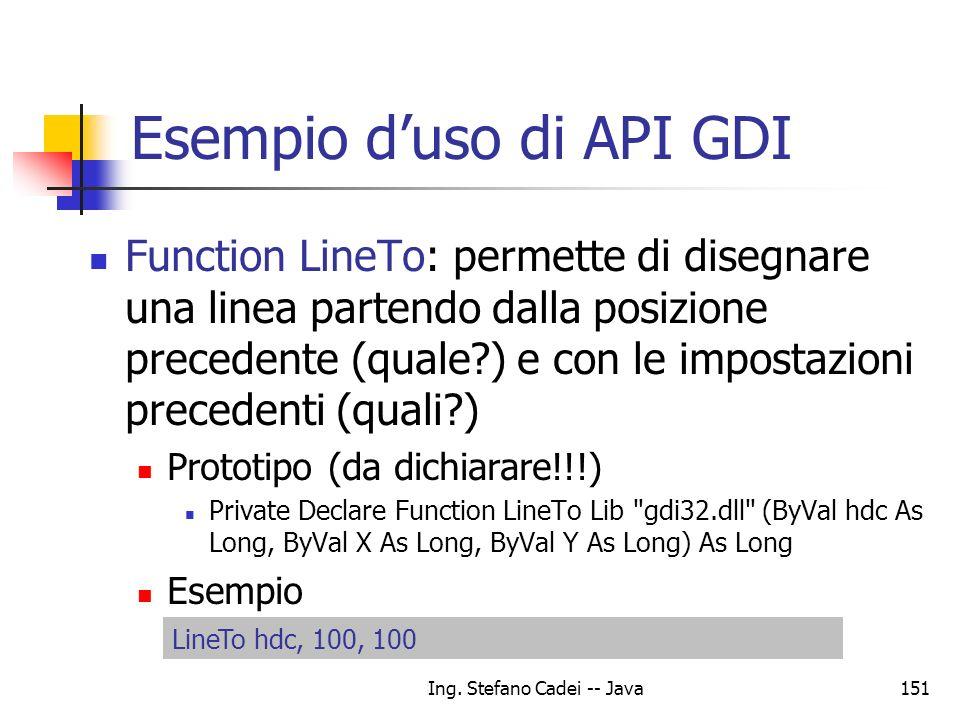 Ing. Stefano Cadei -- Java151 Esempio duso di API GDI Function LineTo: permette di disegnare una linea partendo dalla posizione precedente (quale?) e