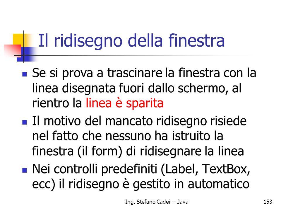 Ing. Stefano Cadei -- Java153 Il ridisegno della finestra Se si prova a trascinare la finestra con la linea disegnata fuori dallo schermo, al rientro