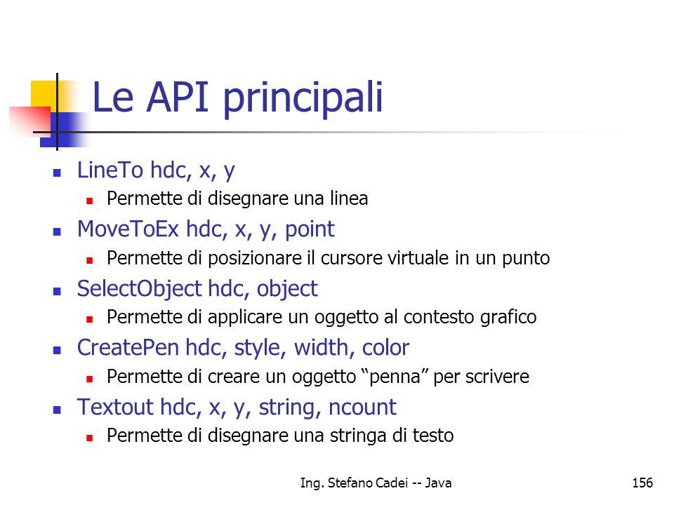 Ing. Stefano Cadei -- Java156 Le API principali LineTo hdc, x, y Permette di disegnare una linea MoveToEx hdc, x, y, point Permette di posizionare il