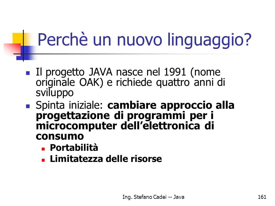 Ing. Stefano Cadei -- Java161 Perchè un nuovo linguaggio? Il progetto JAVA nasce nel 1991 (nome originale OAK) e richiede quattro anni di sviluppo Spi