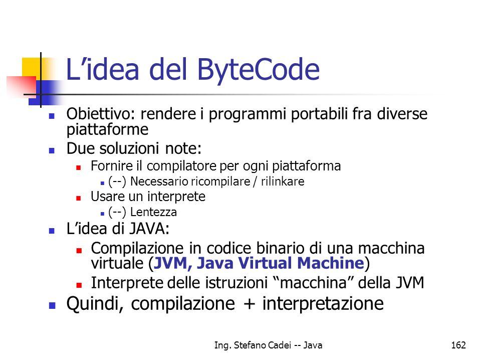Ing. Stefano Cadei -- Java162 Lidea del ByteCode Obiettivo: rendere i programmi portabili fra diverse piattaforme Due soluzioni note: Fornire il compi