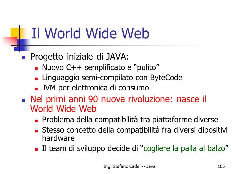 Ing. Stefano Cadei -- Java165 Il World Wide Web Progetto iniziale di JAVA: Nuovo C++ semplificato e pulito Linguaggio semi-compilato con ByteCode JVM