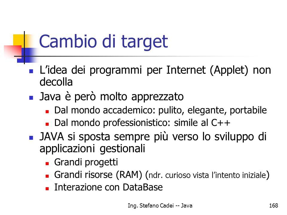 Ing. Stefano Cadei -- Java168 Cambio di target Lidea dei programmi per Internet (Applet) non decolla Java è però molto apprezzato Dal mondo accademico