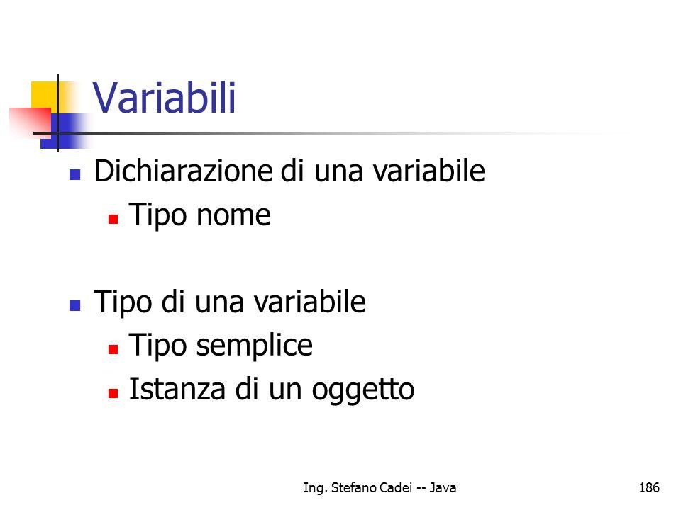 Ing. Stefano Cadei -- Java186 Variabili Dichiarazione di una variabile Tipo nome Tipo di una variabile Tipo semplice Istanza di un oggetto
