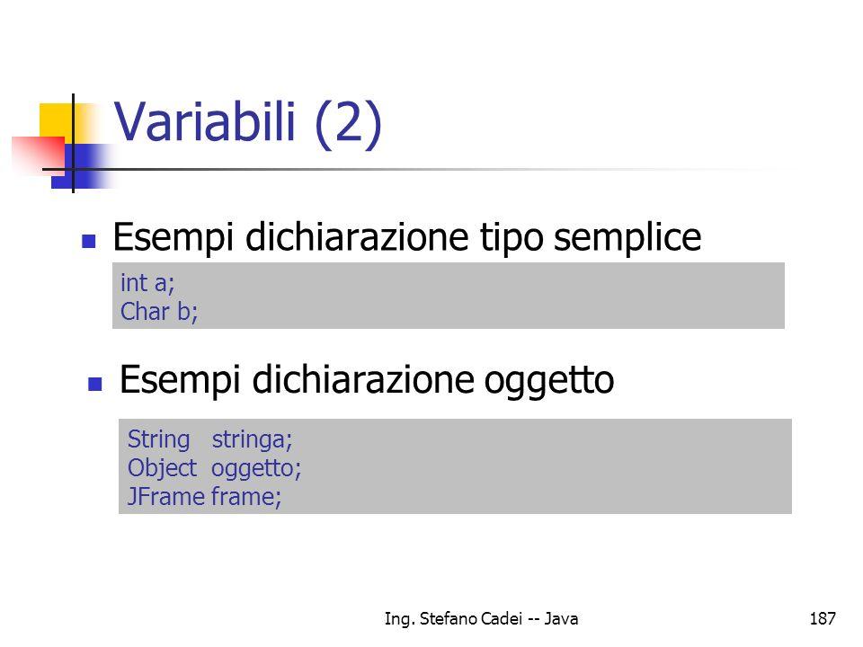 Ing. Stefano Cadei -- Java187 Variabili (2) Esempi dichiarazione tipo semplice Esempi dichiarazione oggetto int a; Char b; String stringa; Object ogge