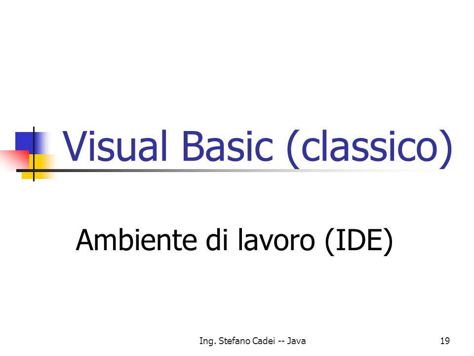 Ing. Stefano Cadei -- Java19 Visual Basic (classico) Ambiente di lavoro (IDE)